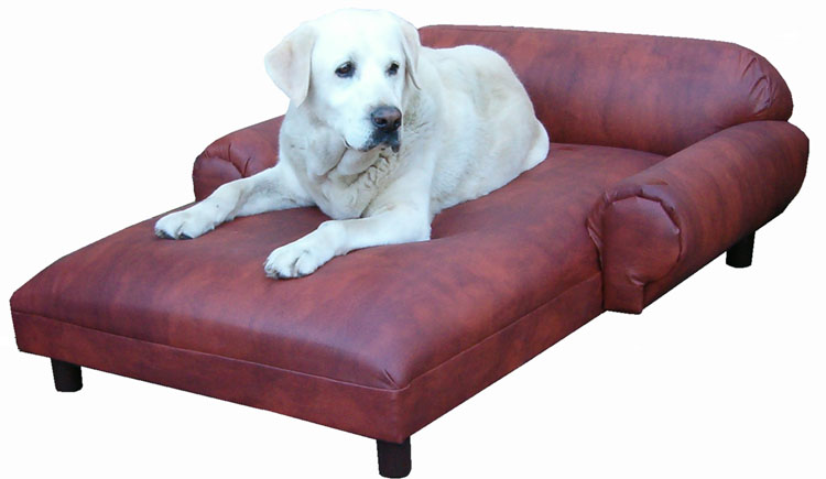 auburn glove faux leather chaise lounge pet bed